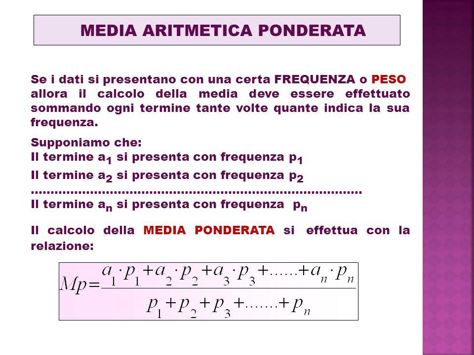 MEDIA ARITMETICA PONDERATA Se i dati si presentano con una certa FREQUENZA o PESO allora il calcolo della media deve essere effettuato sommando ogni termine tante volte quante indica la sua frequenza.