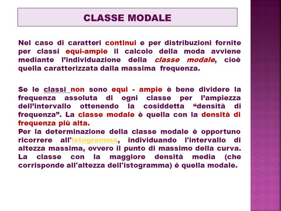 Nel caso di caratteri continui e per distribuzioni fornite per classi equi-ampie il calcolo della moda avviene mediante l'individuazione della classe modale, cioè quella caratterizzata dalla massima frequenza.