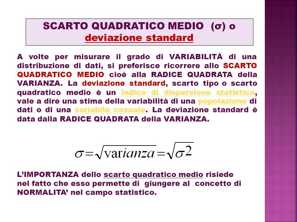SCARTO QUADRATICO MEDIO (σ) o deviazione standard A volte per misurare il grado di VARIABILITÀ di una distribuzione di dati, si preferisce ricorrere allo SCARTO QUADRATICO MEDIO cioè alla RADICE QUADRATA della VARIANZA.