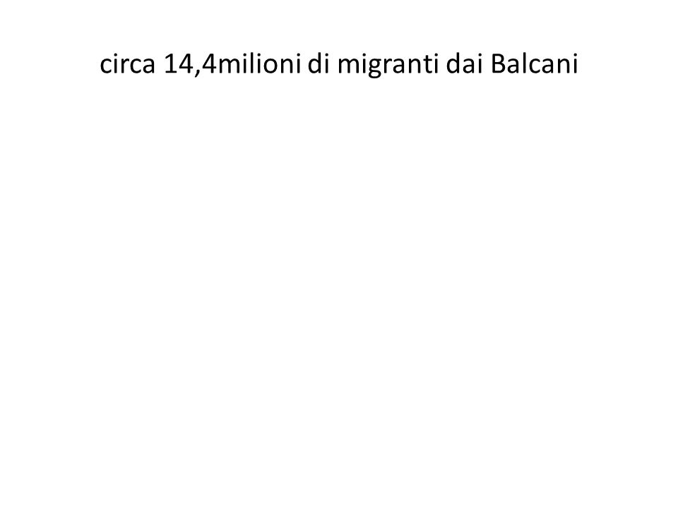 circa rimesse 31miliardi di Us$ Trasferimenti dei migranti (migrant transfers) Redditi da lavoro (compensations of employees) Rimesse dei lavoratori (workers'remittances) circa 14,4milioni di migranti dai Balcani