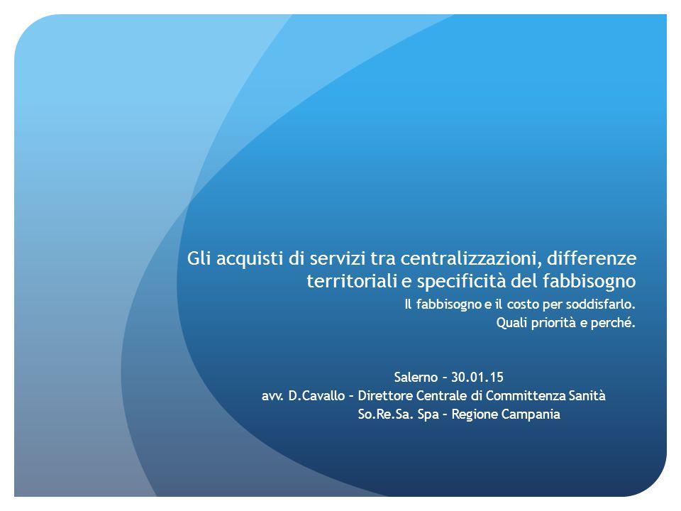 Gli acquisti di servizi tra centralizzazioni, differenze territoriali e specificità del fabbisogno Il fabbisogno e il costo per soddisfarlo. Quali pri