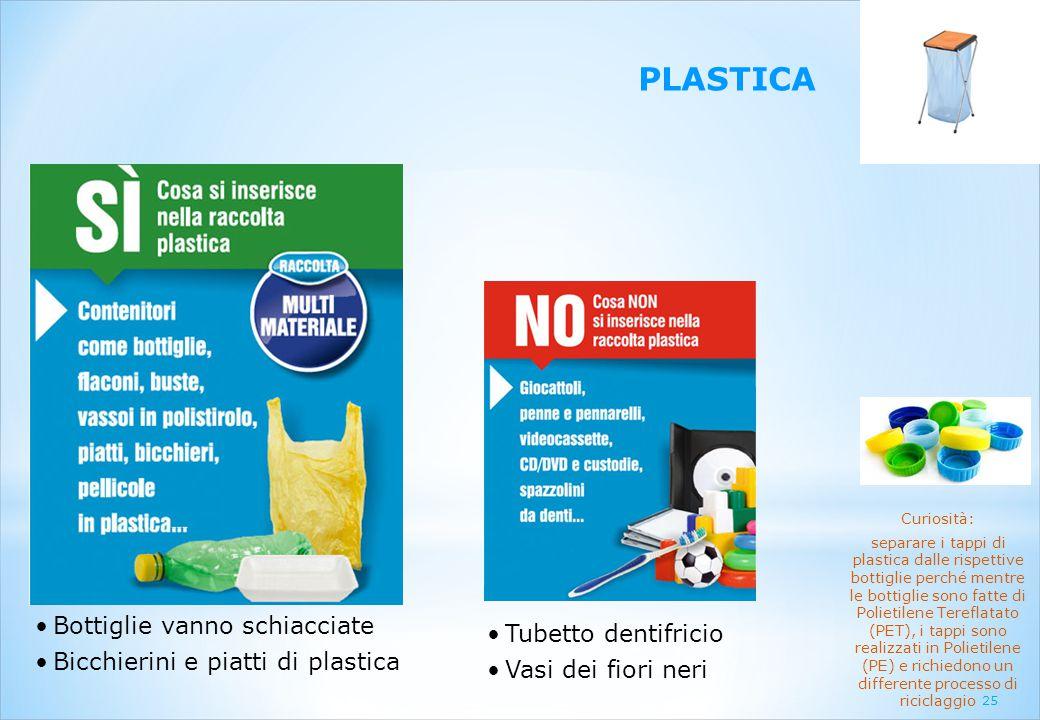 25 PLASTICA Bottiglie vanno schiacciate Bicchierini e piatti di plastica Tubetto dentifricio Vasi dei fiori neri Curiosità: separare i tappi di plasti