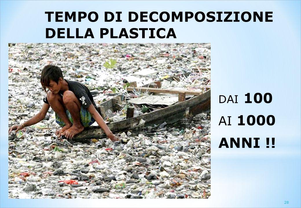 TEMPO DI DECOMPOSIZIONE DELLA PLASTICA DAI 100 AI 1000 ANNI !! 28