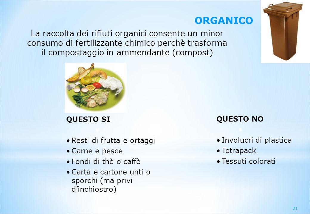 31 ORGANICO La raccolta dei rifiuti organici consente un minor consumo di fertilizzante chimico perchè trasforma il compostaggio in ammendante (compos