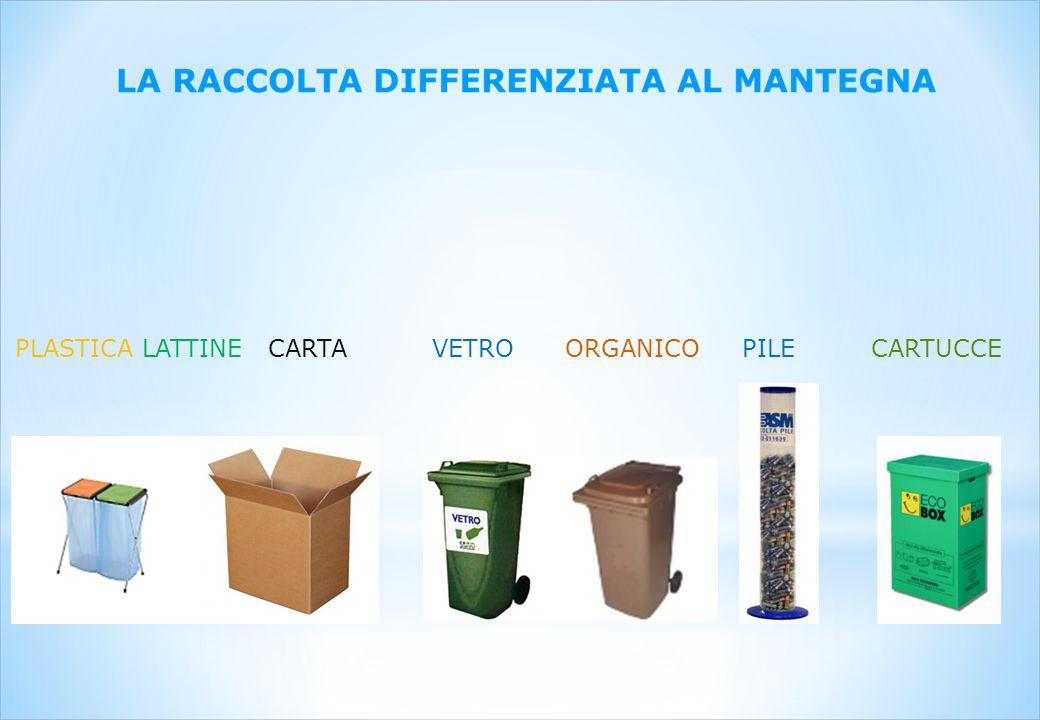 PLASTICA LATTINE CARTA VETRO ORGANICO PILE CARTUCCE