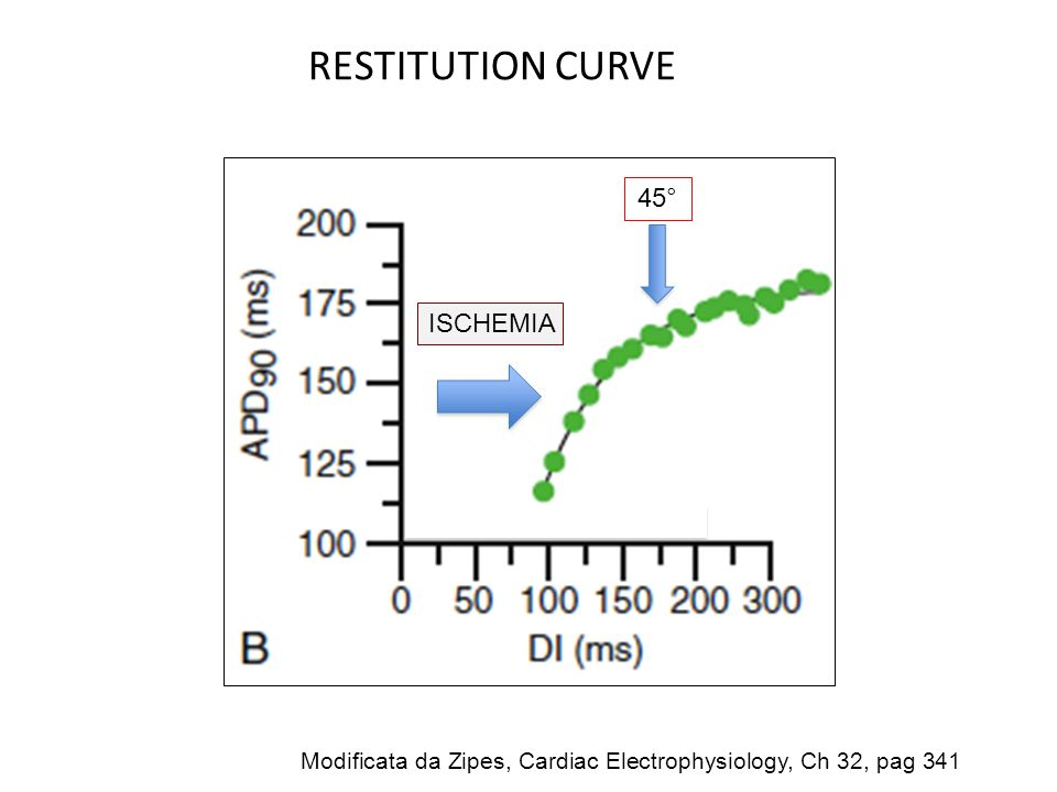 RESTITUTION CURVE 45° ISCHEMIA Modificata da Zipes, Cardiac Electrophysiology, Ch 32, pag 341