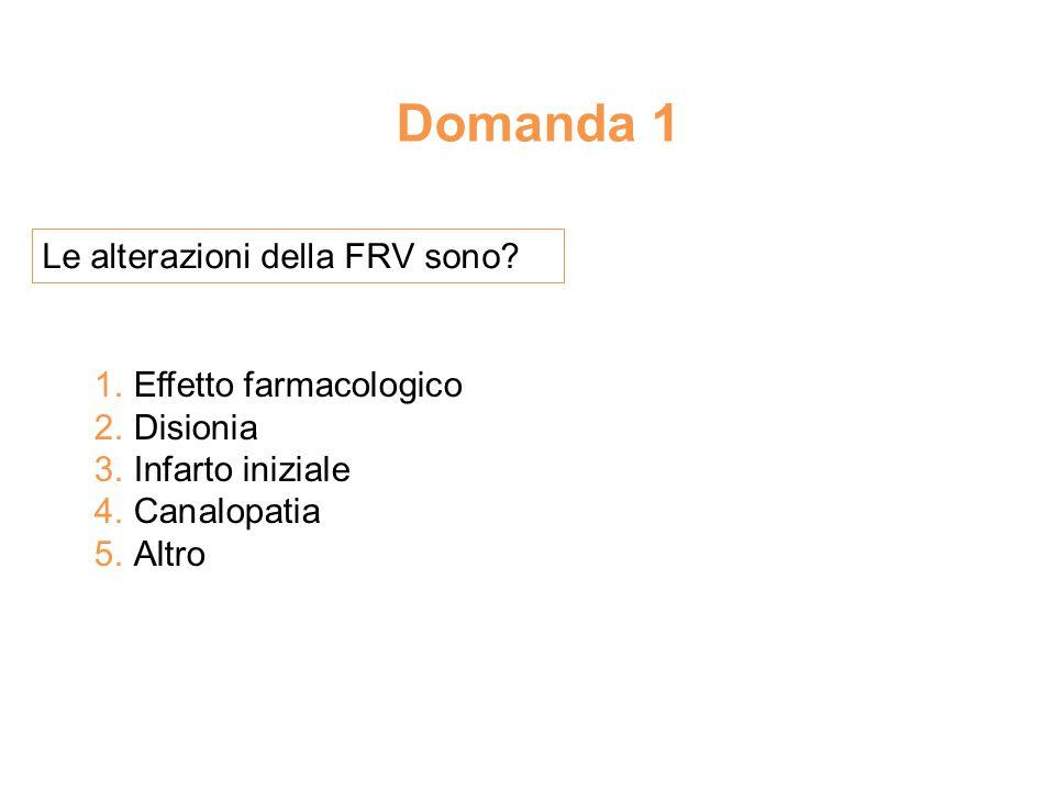 Domanda 1 Le alterazioni della FRV sono.1. Effetto farmacologico 2.