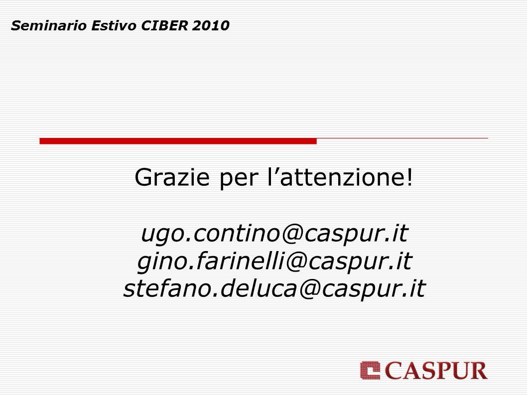 Seminario Estivo CIBER 2010 Grazie per l'attenzione! ugo.contino@caspur.it gino.farinelli@caspur.it stefano.deluca@caspur.it