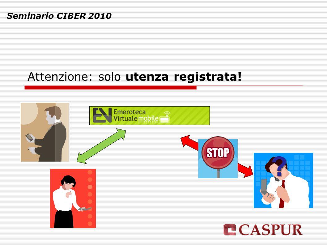 Attenzione: solo utenza registrata! Seminario CIBER 2010