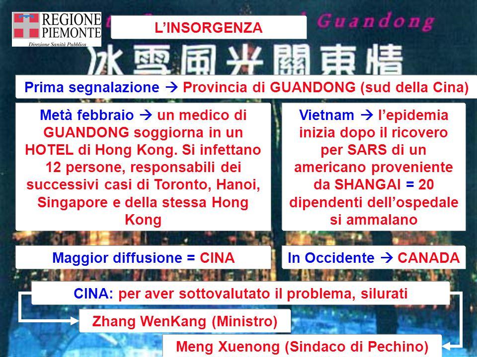 L'INSORGENZA Vietnam  l'epidemia inizia dopo il ricovero per SARS di un americano proveniente da SHANGAI = 20 dipendenti dell'ospedale si ammalano Metà febbraio  un medico di GUANDONG soggiorna in un HOTEL di Hong Kong.