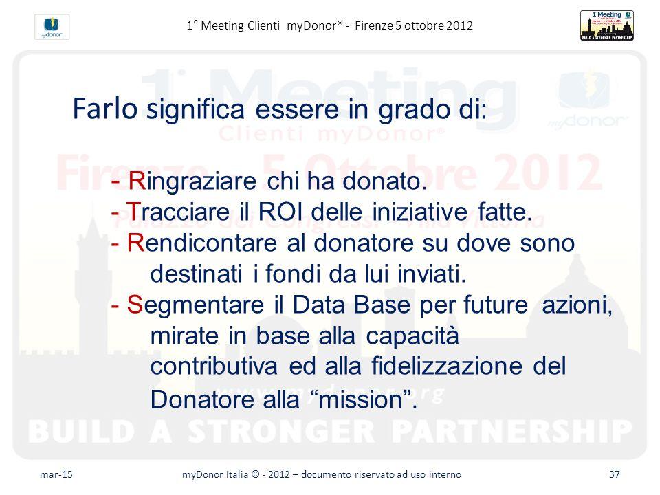 Fundraising avanzato – Il database Farlo s ignifica essere in grado di: - Ringraziare chi ha donato.
