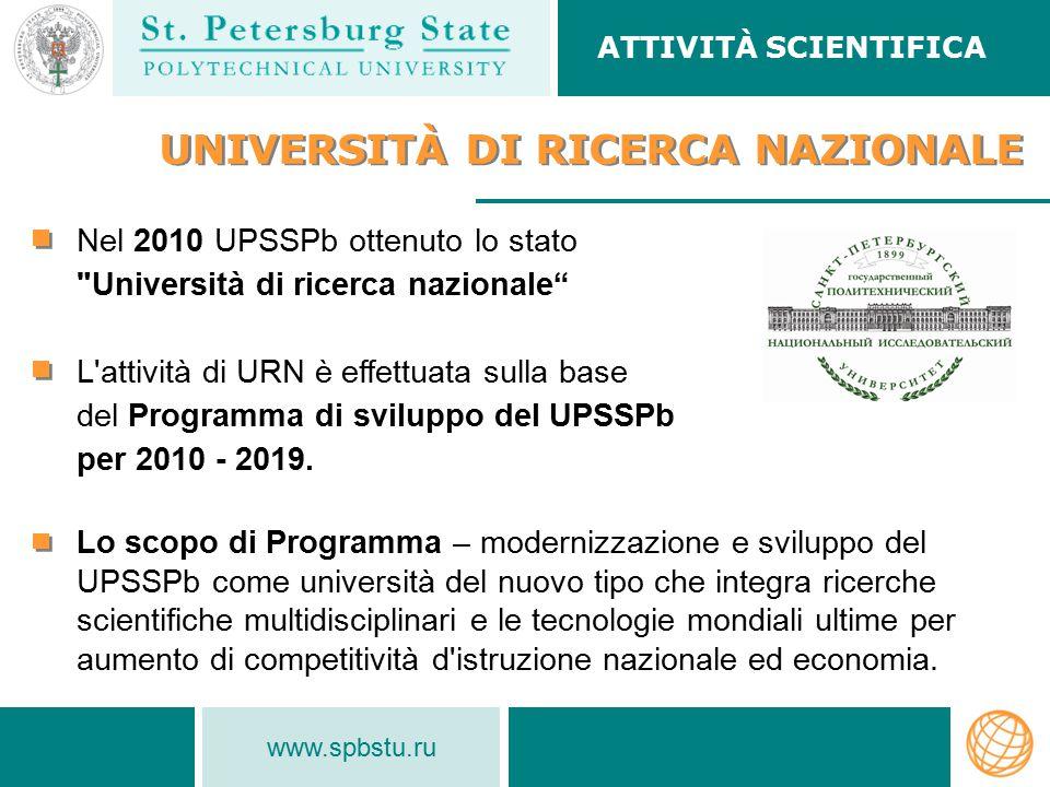 www.spbstu.ru UNIVERSITÀ DI RICERCA NAZIONALE Nel 2010 UPSSPb ottenuto lo stato Università di ricerca nazionale L attività di URN è effettuata sulla base del Programma di sviluppo del UPSSPb per 2010 - 2019.