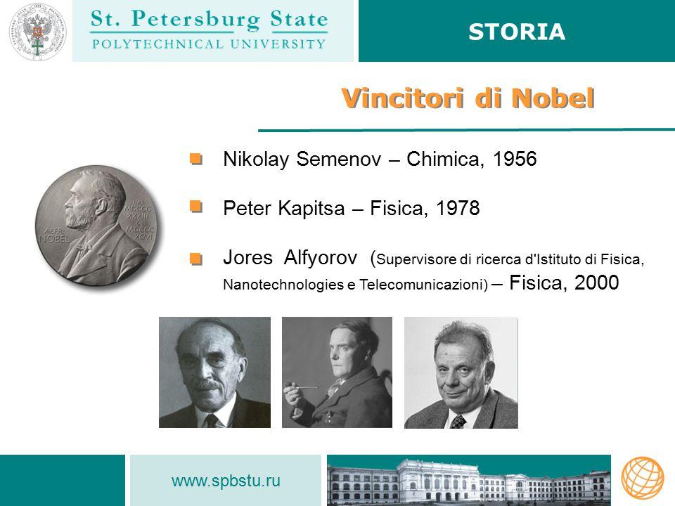www.spbstu.ru Vincitori di Nobel Nikolay Semenov – Сhimica, 1956 Peter Kapitsa – Fisica, 1978 Jores Alfyorov ( Supervisore di ricerca d Istituto di Fisica, Nanotechnologies e Telecomunicazioni) – Fisica, 2000 STORIA