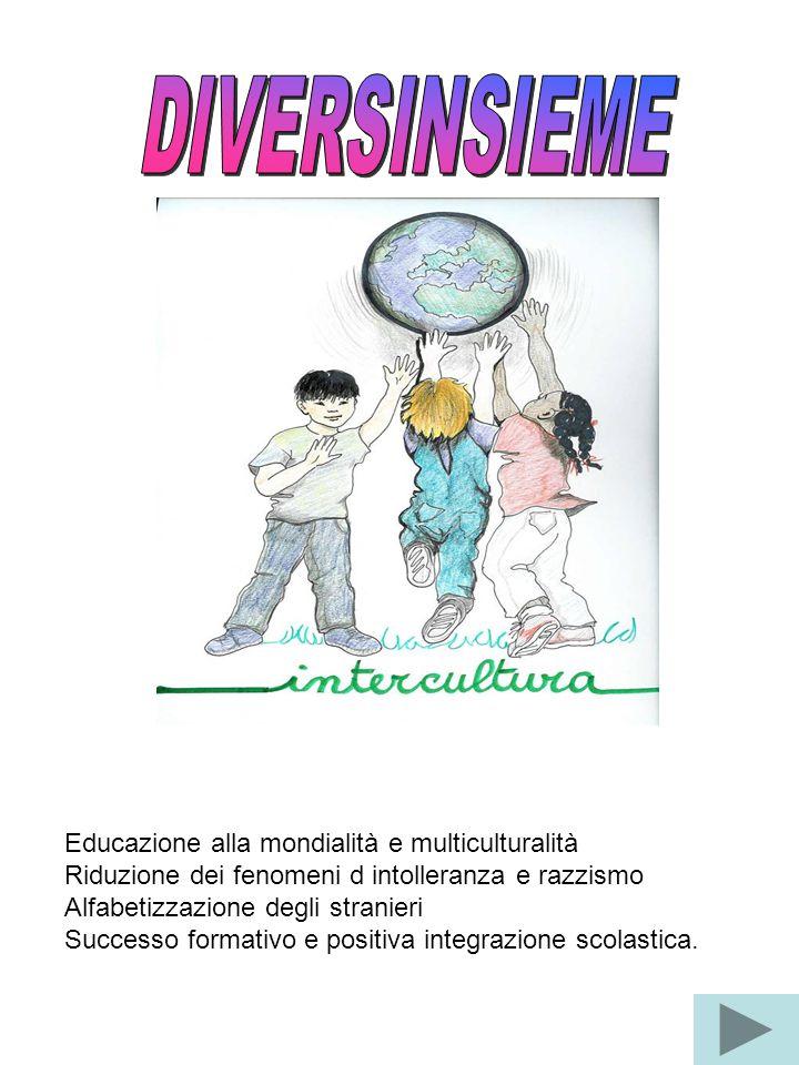 Educazione alla mondialità e multiculturalità Riduzione dei fenomeni d intolleranza e razzismo Alfabetizzazione degli stranieri Successo formativo e p