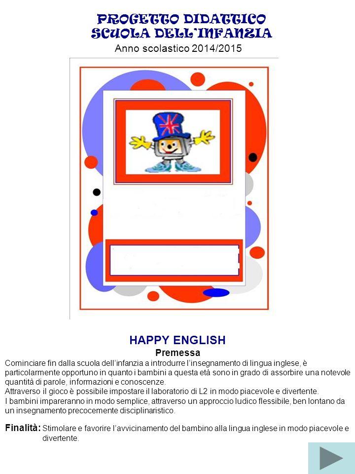 PROGETTO DIDATTICO SCUOLA DELL'INFANZIA Anno scolastico 2014/2015 HAPPY ENGLISH Premessa Cominciare fin dalla scuola dell'infanzia a introdurre l'inse