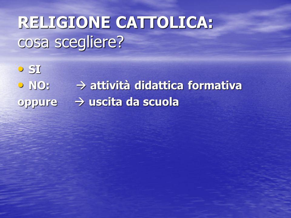 RELIGIONE CATTOLICA: cosa scegliere? SI SI NO:  attività didattica formativa NO:  attività didattica formativa oppure  uscita da scuola