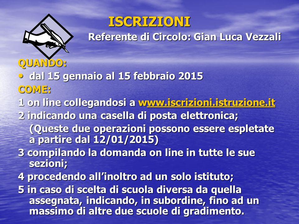 ISCRIZIONI Referente di Circolo: Gian Luca Vezzali QUANDO: dal 15 gennaio al 15 febbraio 2015 dal 15 gennaio al 15 febbraio 2015COME: 1 on line collegandosi a www.iscrizioni.istruzione.it ww.iscrizioni.istruzione.it 2 indicando una casella di posta elettronica; (Queste due operazioni possono essere espletate a partire dal 12/01/2015) 3 compilando la domanda on line in tutte le sue sezioni; 4 procedendo all'inoltro ad un solo istituto; 5 in caso di scelta di scuola diversa da quella assegnata, indicando, in subordine, fino ad un massimo di altre due scuole di gradimento.