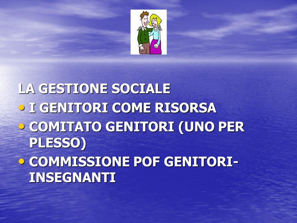 LA GESTIONE SOCIALE I GENITORI COME RISORSA I GENITORI COME RISORSA COMITATO GENITORI (UNO PER PLESSO) COMITATO GENITORI (UNO PER PLESSO) COMMISSIONE