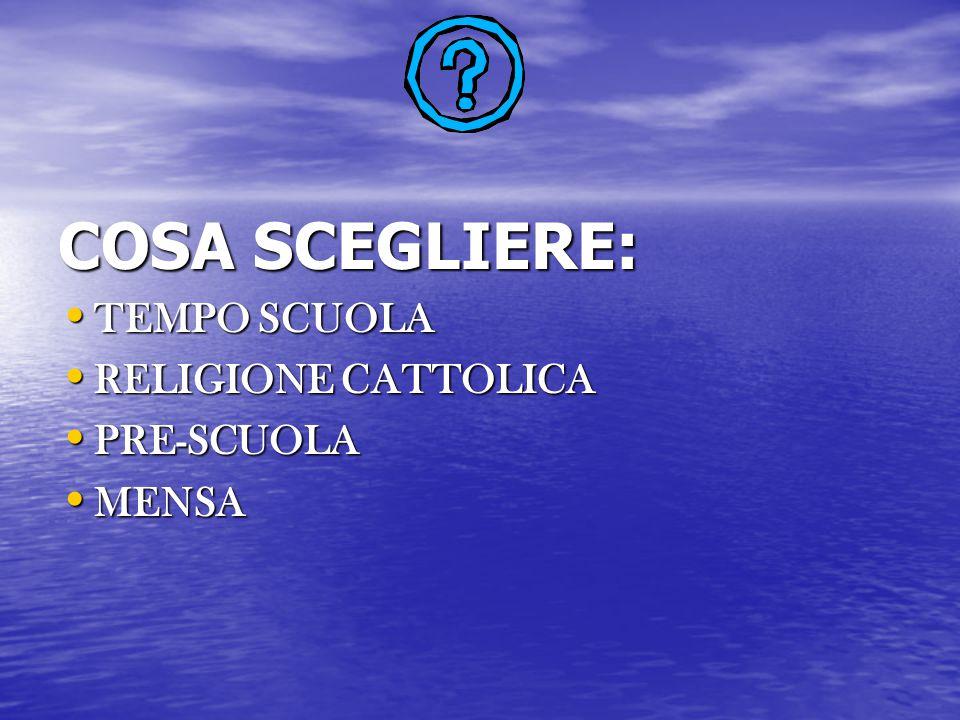 COSA SCEGLIERE: TEMPO SCUOLA TEMPO SCUOLA RELIGIONE CATTOLICA RELIGIONE CATTOLICA PRE-SCUOLA PRE-SCUOLA MENSA MENSA