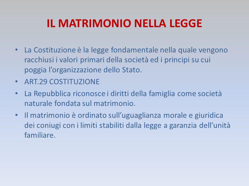 IL MATRIMONIO NELLA LEGGE La Costituzione è la legge fondamentale nella quale vengono racchiusi i valori primari della società ed i principi su cui po