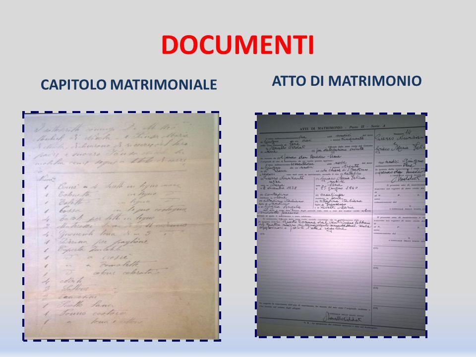 DOCUMENTI CAPITOLO MATRIMONIALE ATTO DI MATRIMONIO