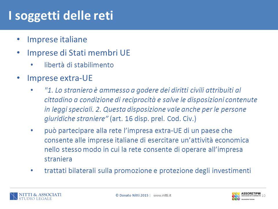© Donato Nitti 2015 | www.nitti.it 10 Imprese italiane Imprese di Stati membri UE libertà di stabilimento Imprese extra-UE
