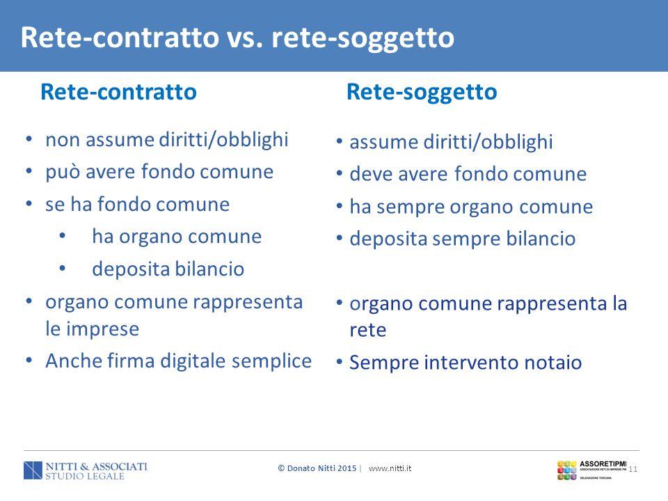 © Donato Nitti 2015 | www.nitti.it 11 Rete-contratto vs. rete-soggetto Rete-soggetto Rete-contratto non assume diritti/obblighi può avere fondo comune