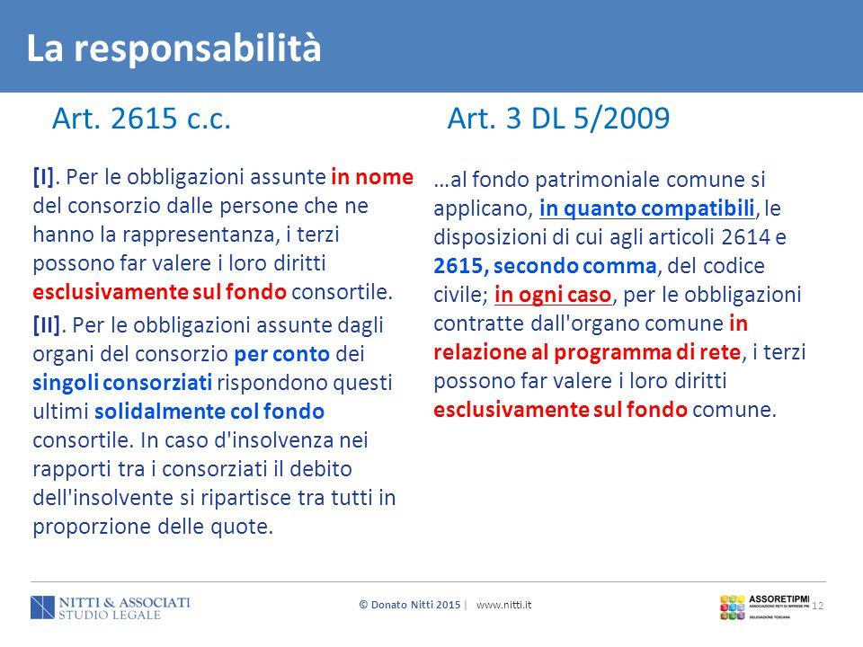© Donato Nitti 2015 | www.nitti.it 12 La responsabilità Art. 3 DL 5/2009 Art. 2615 c.c. [I]. Per le obbligazioni assunte in nome del consorzio dalle p