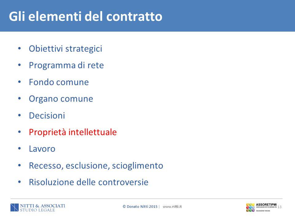 © Donato Nitti 2015 | www.nitti.it 13 Obiettivi strategici Programma di rete Fondo comune Organo comune Decisioni Proprietà intellettuale Lavoro Reces