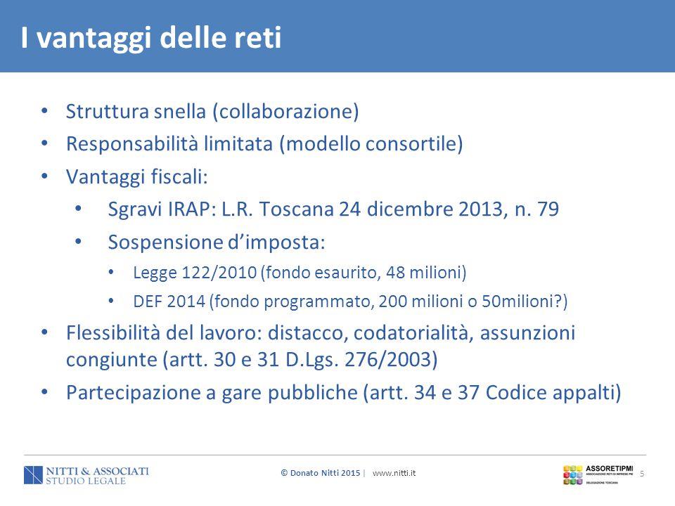 © Donato Nitti 2015 | www.nitti.it 5 Struttura snella (collaborazione) Responsabilità limitata (modello consortile) Vantaggi fiscali: Sgravi IRAP: L.R