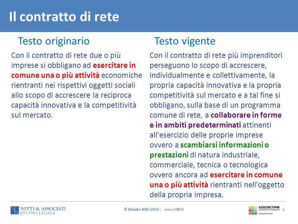 © Donato Nitti 2015 | www.nitti.it 8 Il contratto di rete Testo originario Testo vigente Con il contratto di rete due o più imprese si obbligano ad es