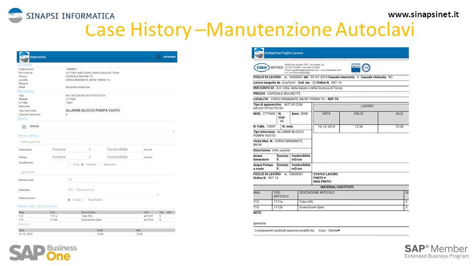 Case History –Manutenzione Autoclavi 13 www.sinapsinet.it