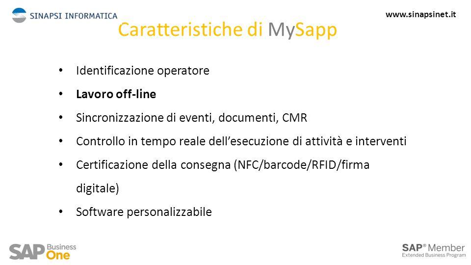 Caratteristiche di MySapp Identificazione operatore Lavoro off-line Sincronizzazione di eventi, documenti, CMR Controllo in tempo reale dell'esecuzione di attività e interventi Certificazione della consegna (NFC/barcode/RFID/firma digitale) Software personalizzabile 3 www.sinapsinet.it