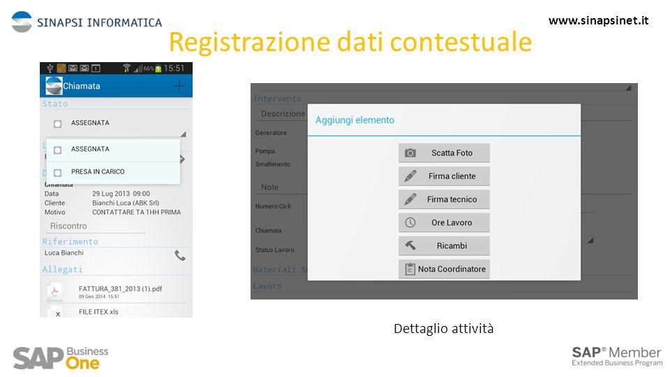 Registrazione dati contestuale Dettaglio attività 8 www.sinapsinet.it