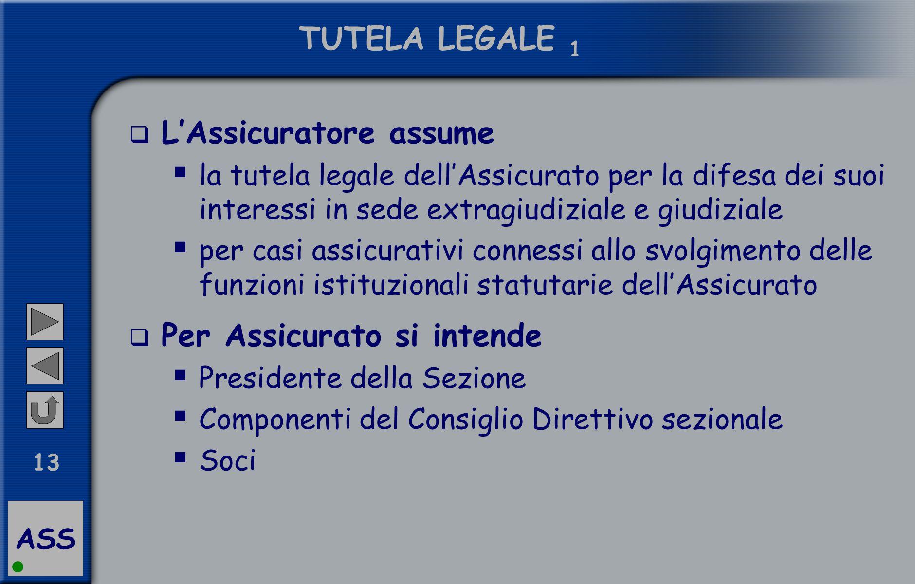 ASS 13 TUTELA LEGALE 1  L'Assicuratore assume  la tutela legale dell'Assicurato per la difesa dei suoi interessi in sede extragiudiziale e giudizial