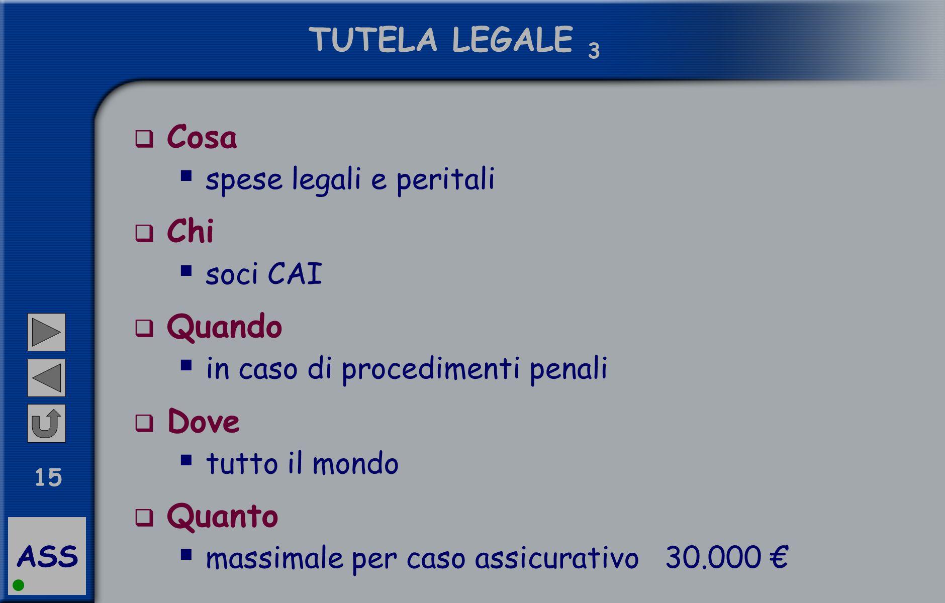 ASS 15 TUTELA LEGALE 3  Cosa  spese legali e peritali  Chi  soci CAI  Quando  in caso di procedimenti penali  Dove  tutto il mondo  Quanto 