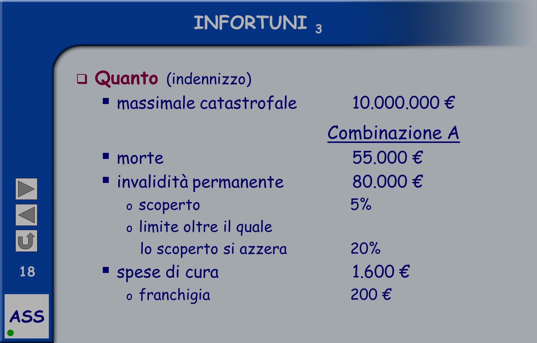 ASS 18 INFORTUNI 3  Quanto (indennizzo)  massimale catastrofale 10.000.000 € Combinazione A  morte 55.000 €  invalidità permanente 80.000 € o scop