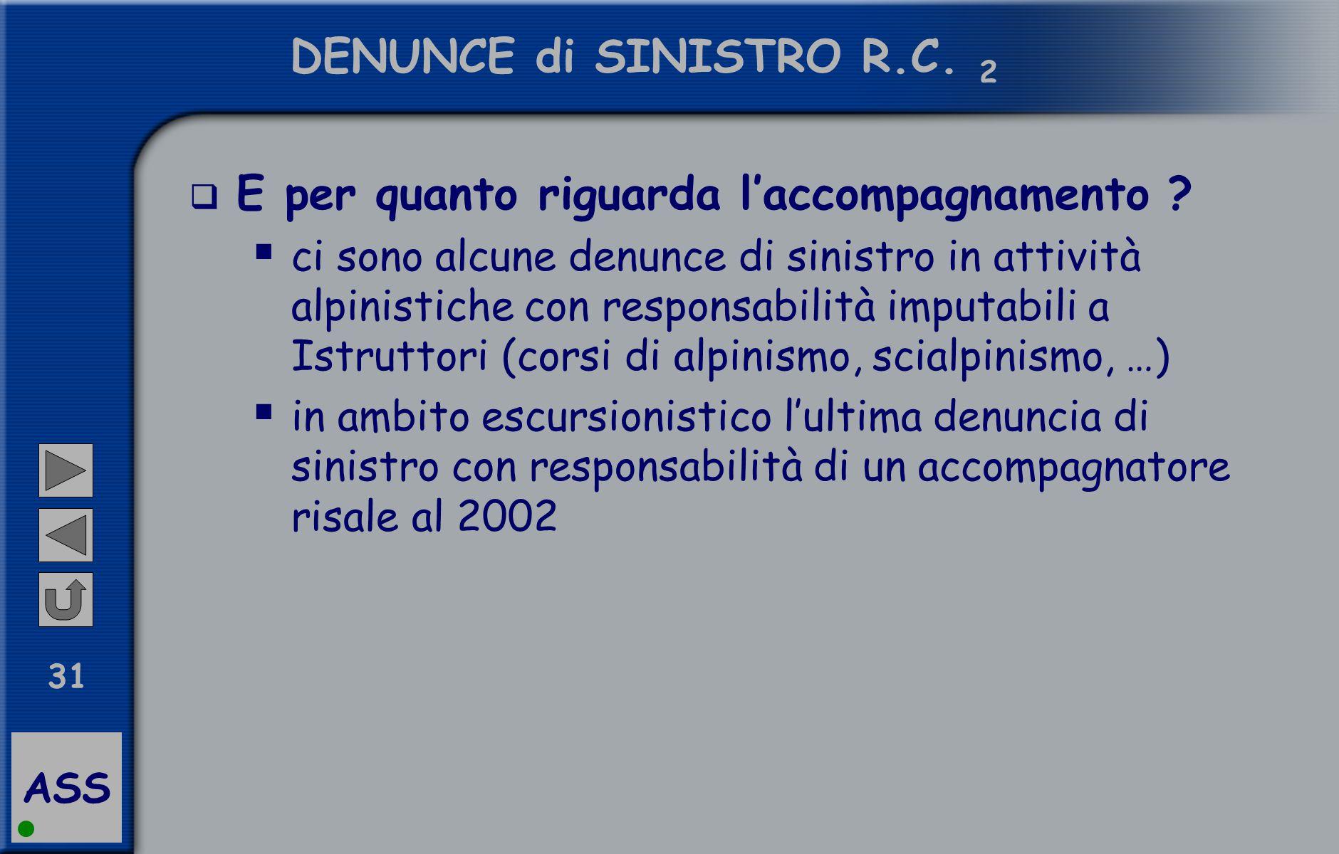 ASS 31 DENUNCE di SINISTRO R.C.2  E per quanto riguarda l'accompagnamento .