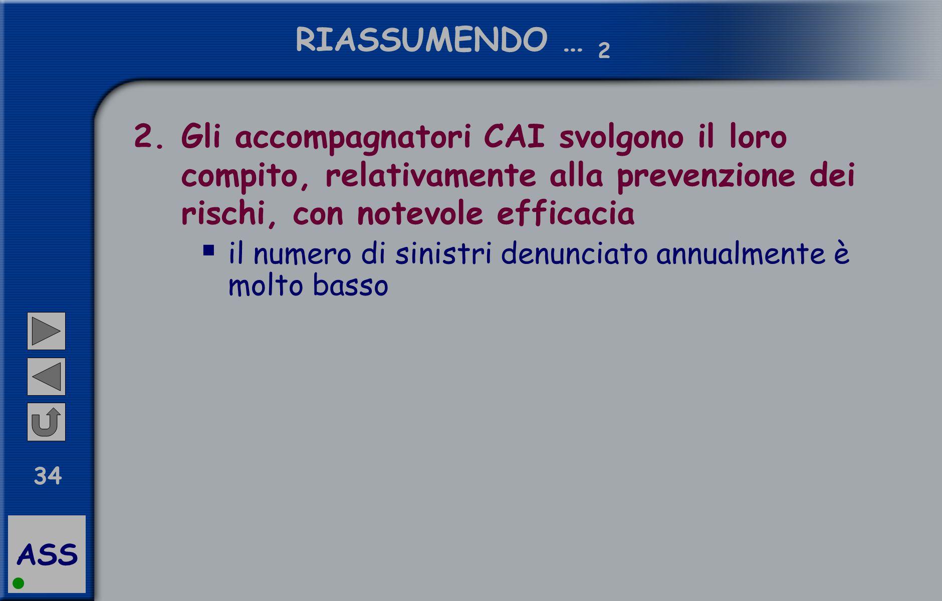 ASS 34 RIASSUMENDO … 2 2.Gli accompagnatori CAI svolgono il loro compito, relativamente alla prevenzione dei rischi, con notevole efficacia  il numero di sinistri denunciato annualmente è molto basso