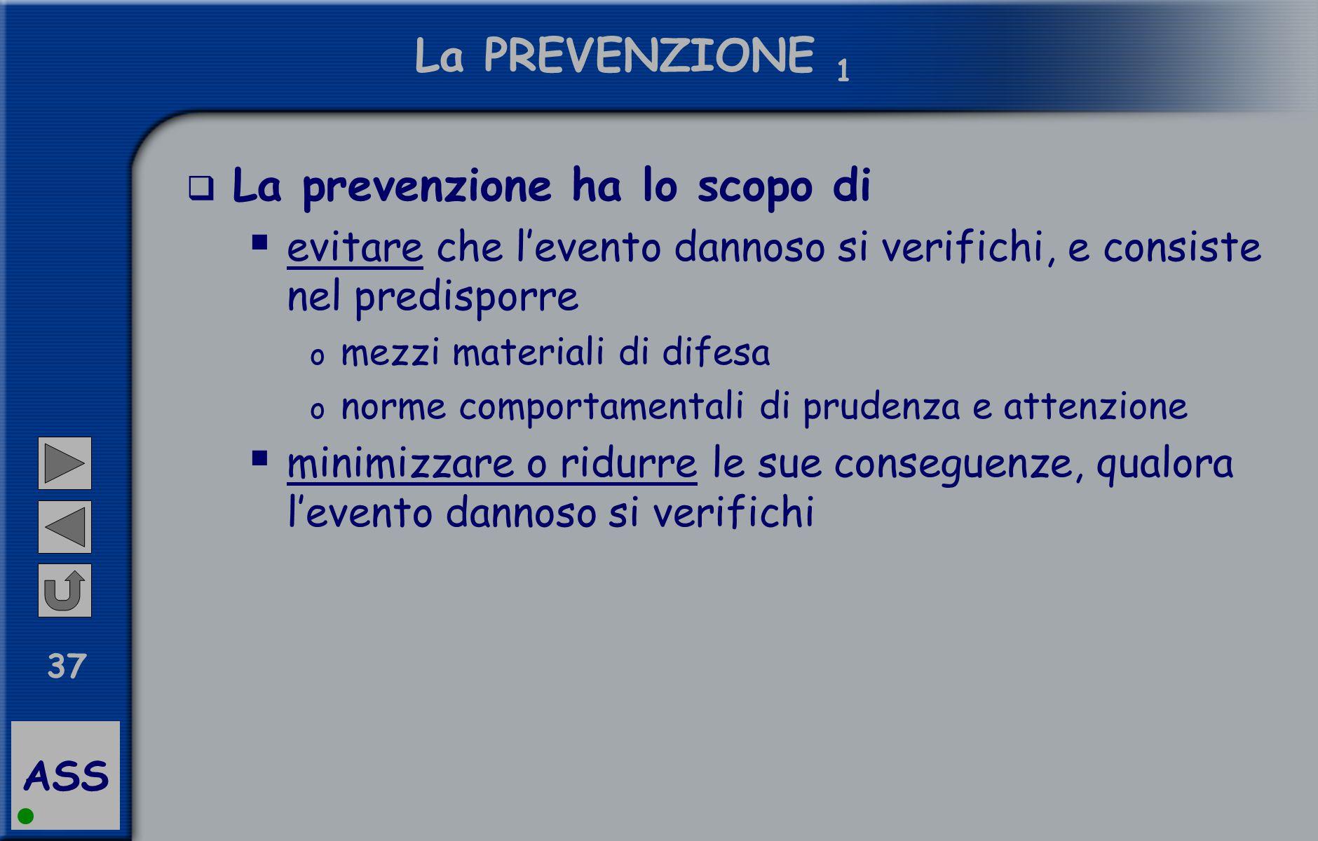 ASS 37 La PREVENZIONE 1  La prevenzione ha lo scopo di  evitare che l'evento dannoso si verifichi, e consiste nel predisporre o mezzi materiali di d