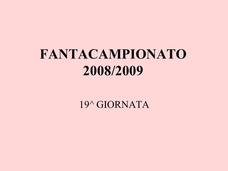 FANTACAMPIONATO 2008/2009 19^ GIORNATA