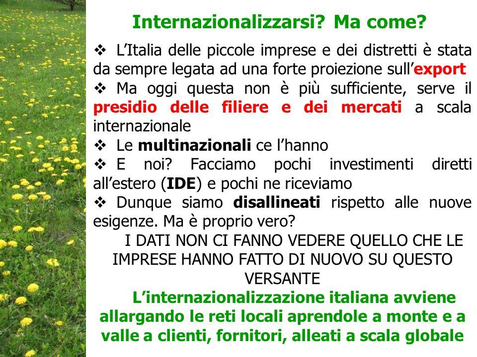  L'Italia delle piccole imprese e dei distretti è stata da sempre legata ad una forte proiezione sull'export  Ma oggi questa non è più sufficiente, serve il presidio delle filiere e dei mercati a scala internazionale  Le multinazionali ce l'hanno  E noi.