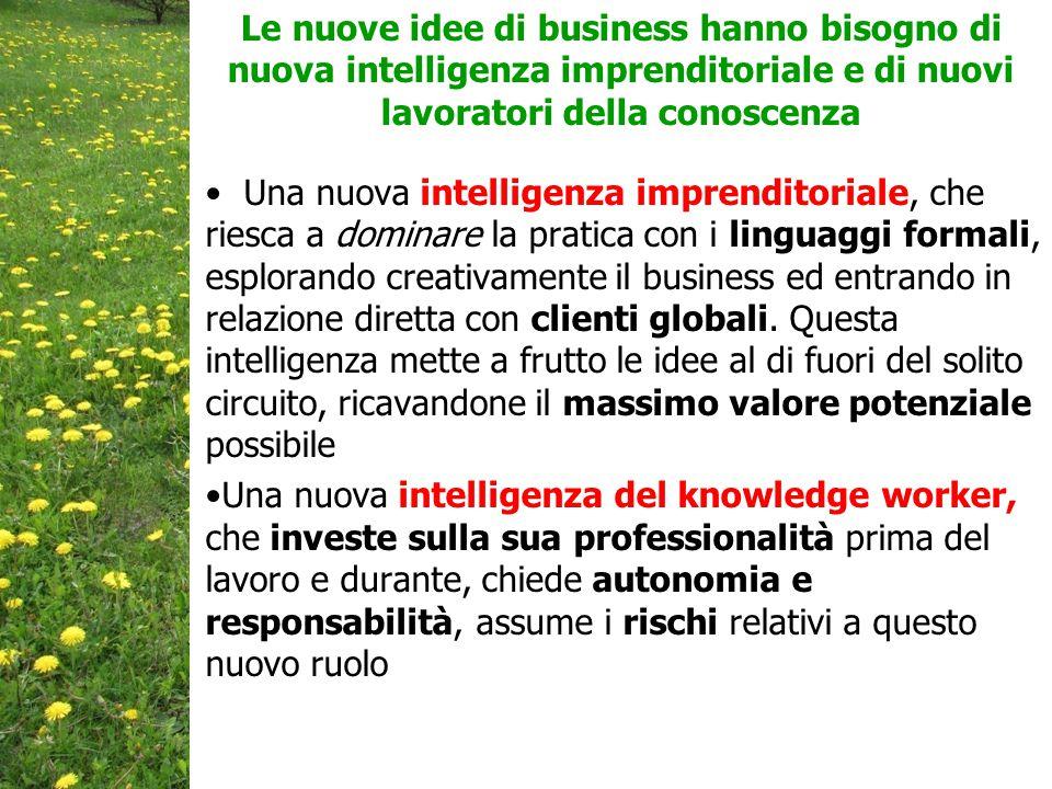 Una nuova intelligenza imprenditoriale, che riesca a dominare la pratica con i linguaggi formali, esplorando creativamente il business ed entrando in relazione diretta con clienti globali.