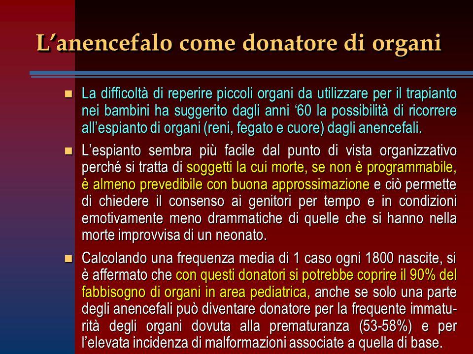 L'anencefalo come donatore di organi n La difficoltà di reperire piccoli organi da utilizzare per il trapianto nei bambini ha suggerito dagli anni '60