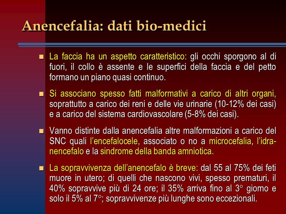 L'anencefalo come donatore di organi n Una volta posta la diagnosi di anencefalia si conclude che quel neonato non è vivo.