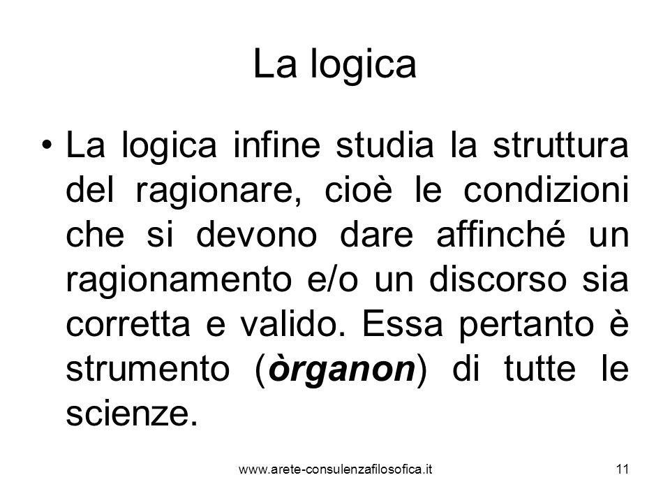 La logica La logica infine studia la struttura del ragionare, cioè le condizioni che si devono dare affinché un ragionamento e/o un discorso sia corre