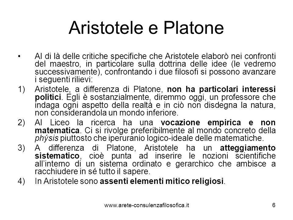 Aristotele e Platone Al di là delle critiche specifiche che Aristotele elaborò nei confronti del maestro, in particolare sulla dottrina delle idee (le
