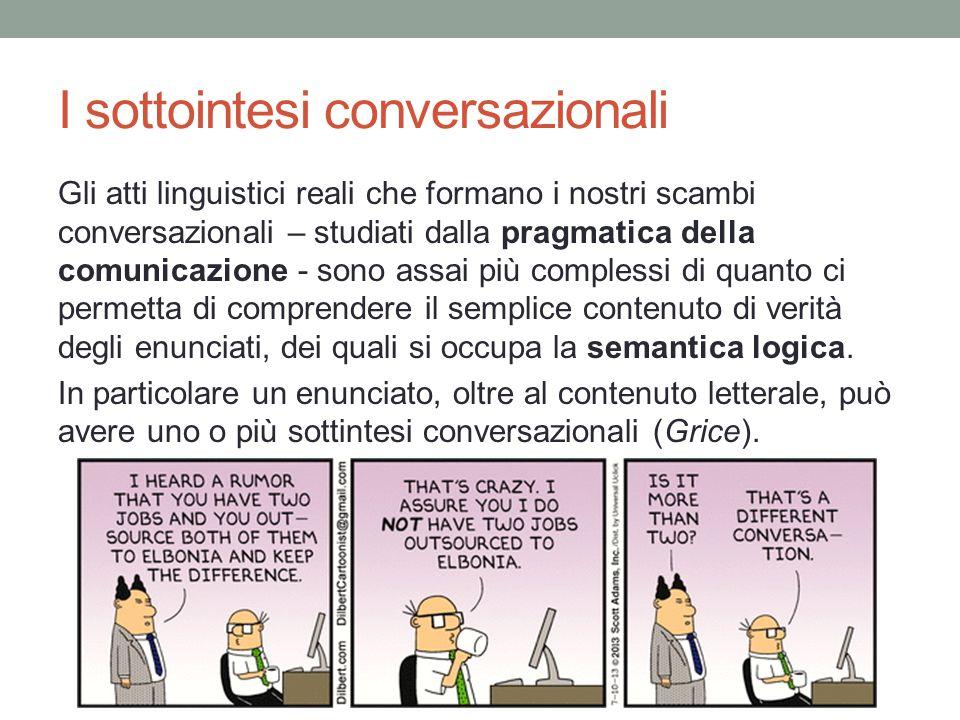 I sottointesi conversazionali Gli atti linguistici reali che formano i nostri scambi conversazionali – studiati dalla pragmatica della comunicazione - sono assai più complessi di quanto ci permetta di comprendere il semplice contenuto di verità degli enunciati, dei quali si occupa la semantica logica.