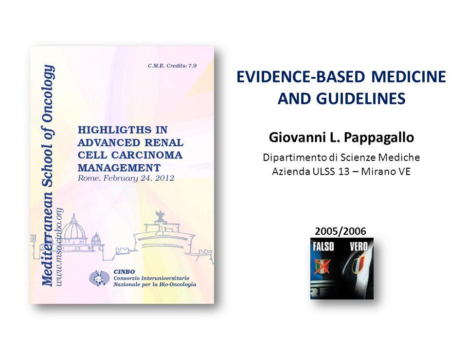 EVIDENCE-BASED MEDICINE AND GUIDELINES Giovanni L. Pappagallo Dipartimento di Scienze Mediche Azienda ULSS 13 – Mirano VE 2005/2006