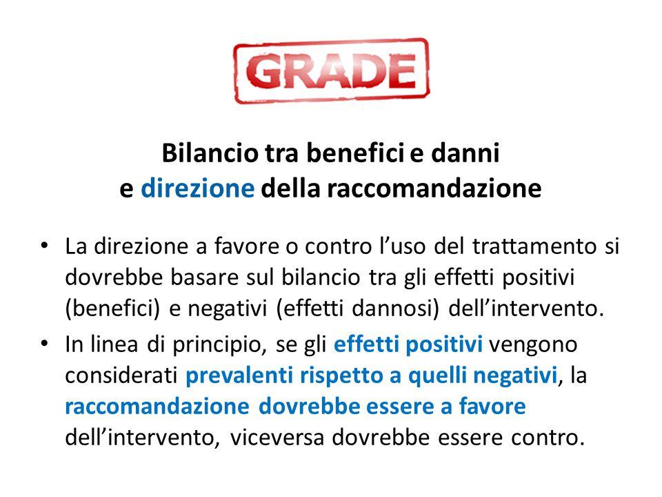 Bilancio tra benefici e danni e direzione della raccomandazione La direzione a favore o contro l'uso del trattamento si dovrebbe basare sul bilancio t